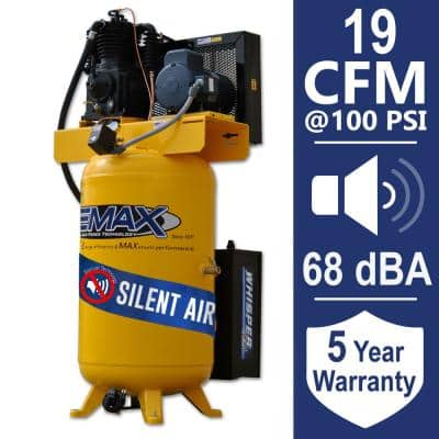 Industrial PLUS 80 Gal. 5 HP 1-Phase Silent Air Electric Air Compressor with pressure lubricated pump