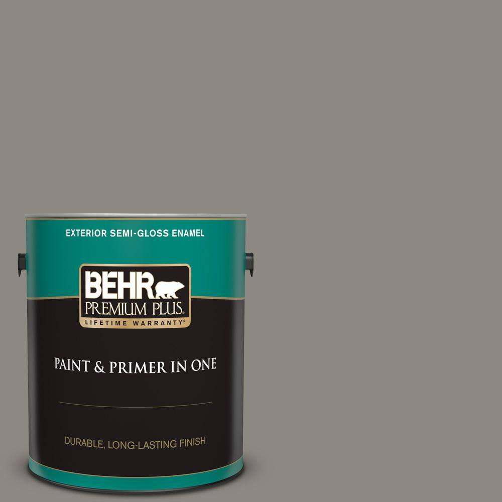 Behr Premium Plus 1 Gal Bxc 55 Concrete Sidewalk Semi Gloss Enamel Exterior Paint And Primer In One 534001 The Home Depot