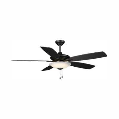 Menage 52 in. Integrated LED Indoor Low Profile Matte Black Ceiling Fan with Light Kit