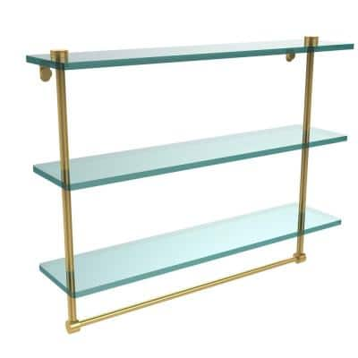 22 in. L  x 18 in. H  x 5 in. W 3-Tier Clear Glass Bathroom Shelf with Towel Bar in Polished Brass