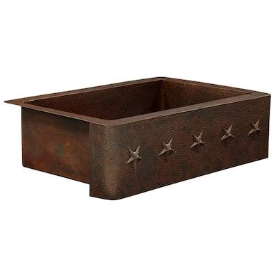 Rodin Farmhouse Apron Front Handmade Pure Solid Copper 33 in. Single Bowl Copper Kitchen Sink with Star Design
