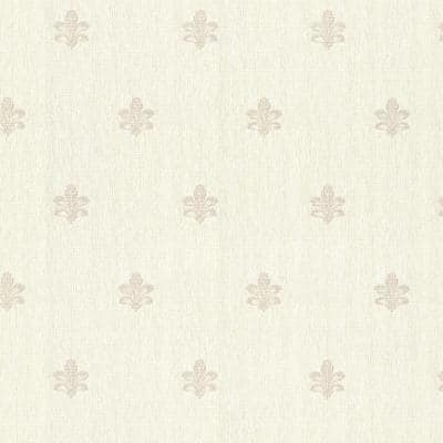 Bolton Cream Fleur De Lis Vinyl Peelable Roll (Covers 56.4 sq. ft.)