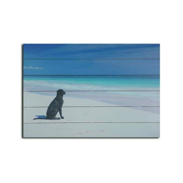 Dog On Beach Planked Wood Animal Art Print 18 In X 26 In S3787a2 The Home Depot