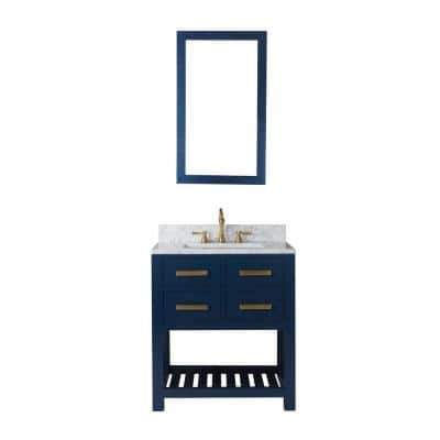 Madalyn 30 in. W Bath Vanity in Monarch Blue with Marble Vanity Top in Carrara White with White Basin(s)