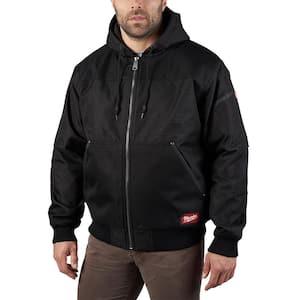 Men's X-Large Black GRIDIRON Bomber Hooded Jacket
