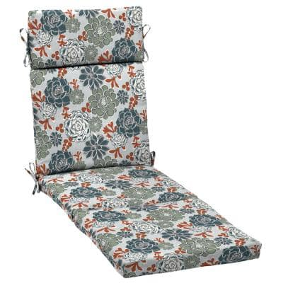 21.5 in. x 29 in. Shadow Gray Succulents Outdoor Chaise Lounge Cushion