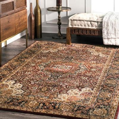 Oriental Burgundy Area Rugs Rugs The Home Depot