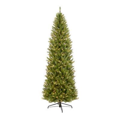 7.5 ft. Pre-Lit Fraser Fir Pencil Tree Artificial Christmas Tree with 350 Clear Lights