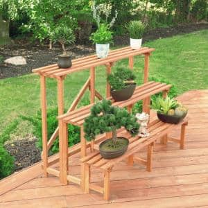 Large 3-Tier 48 in. W x 24 in. D x 32 in. H Brown Step Wooden Plant Stand