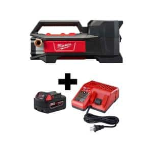 M18 18-Volt 1/4 HP Lithium-Ion Cordless Transfer Pump with M18 Starter Kit with One 5.0 Ah Battery and Charger