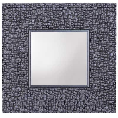 Small Rectangle Silver Contemporary Accent Mirror (11.25 in. H x 11.25 in. W)