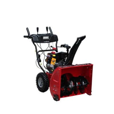 26 in. 212cc Two Stage Electric Start Gas Snow Blower with Power Assist Turning and Headlights