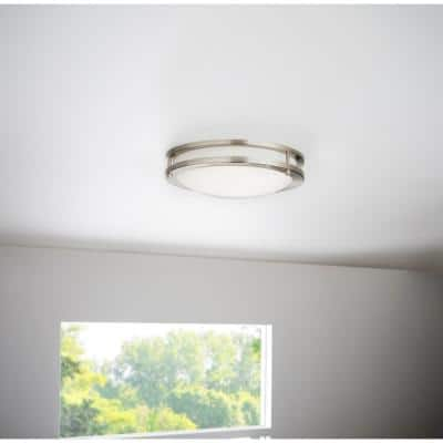 Flaxmere 11.8 in. Brushed Nickel LED Flush Mount Ceiling Light with Frosted White Glass Shade