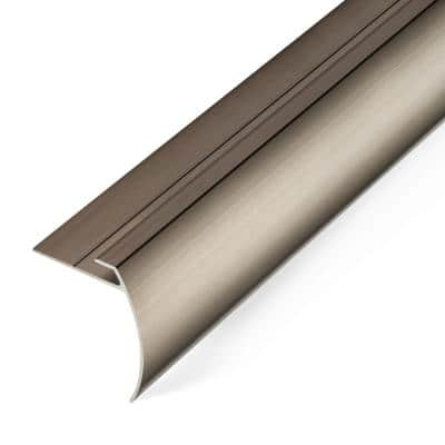 8 mm Satin Nickel 1.75 in. x 74 in. LVT Aluminum Tap Down Stair Nosing Transition Strip