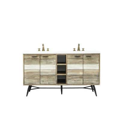 Kingrass 61 in. W x 22 in. D x 34 in. H Vanity in Solid Acacia Wood and Metal with Cultured Marble top and White sink