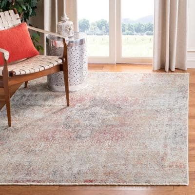 Dream Grey/Red 5 ft. x 8 ft. Medallion Area Rug