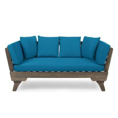 Ottavio Grey Wood Expandable Outdoor Day Bed with Dark Teal Cushions