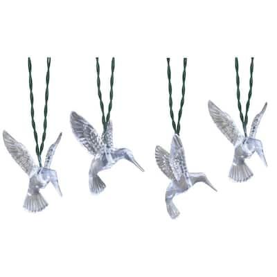 10-Light 15 ft. Solar Powered Integrated LED Clear Hummingbird String Lights