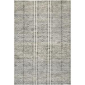 Alden Textured Diamonds Dark Gray 3 ft. x 5 ft. Indoor Area Rug