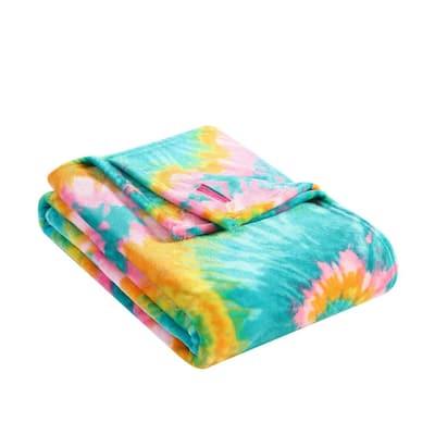 Tie Dye Love Multi-Colored 1-Piece Ultra Soft Plush 50 in. x 70 in. Throw