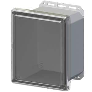 11.8 in. L x 10 in. W x 7.5 in. H Polycarbonate Clear Screw Top Cabinet Enclosure with Gray Bottom