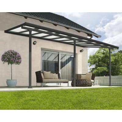 Feria 10 ft. X 18 ft. Grey Patio Cover Awning