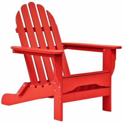 Icon Bright Red Non-Folding Plastic Adirondack Chair