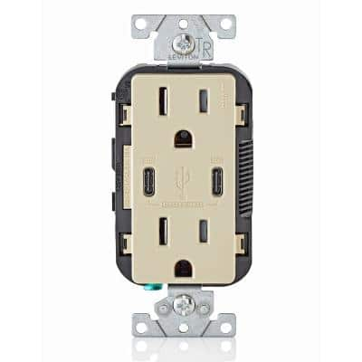 15 Amp 125-Volt Tamper-Resistant Duplex Outlet/30-Watt 6 Amp USB Dual Type-C with Power Delivery In-Wall Charger, Ivory