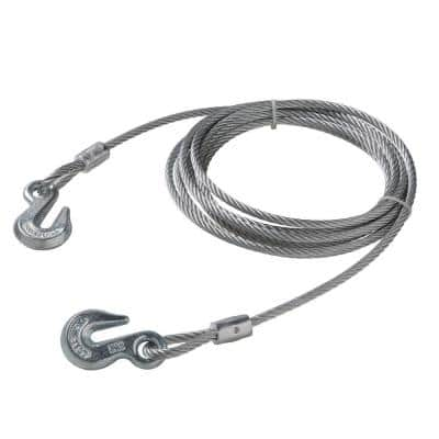 5/16 in. x 20 ft. Galvanized Uncoated Steel Wire Rope with Grab Hooks