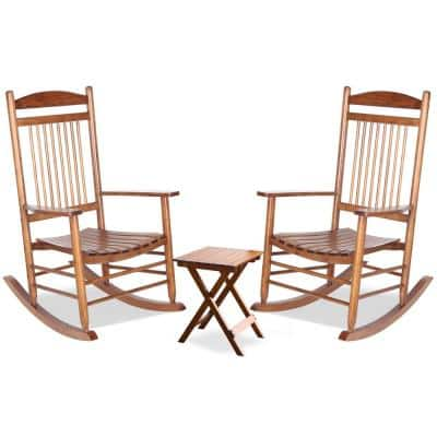 3-Pieces Wood Color Wooden Outdoor Patio Rocking Chair Set