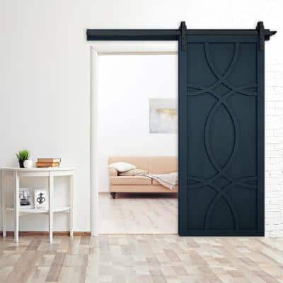 36 in. x 84 in. Hollywood Admiral Wood Sliding Barn Door with Hardware Kit