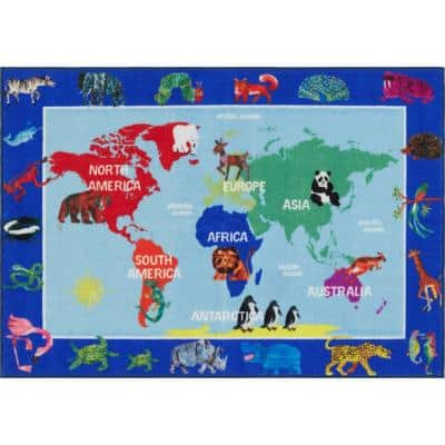 Elementary World Map Multi 4 ft. 11 in. x 6 ft. 6 in. Indoor Area Rug