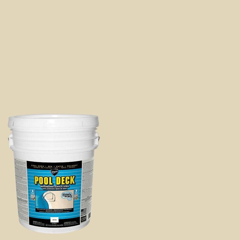 Dyco Paints Pool Deck 5 Gal 9060 Cream Low Sheen Waterborne Acrylic Stain Dyc9060 5 The Home Depot