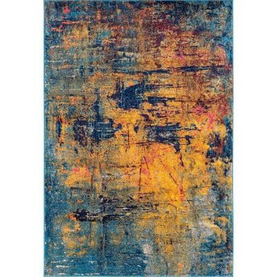 Mandisa Shantall Orange/Navy 7 ft. 6 in. x 9 ft. 6 in. Contemporary Abstract Polypropylene Area Rug