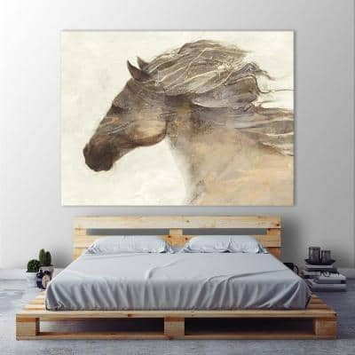 """54 in. x 72 in. """"Into the Wind Ivory"""" by Albena Hristova Printed Framed Canvas Wall Art"""