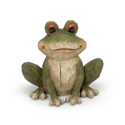 12.01 in. H Magnesium Garden Frog Garden Statue