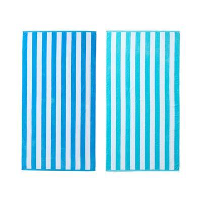 Delmare 2-Piece Mulit-Blue Cotton 36 in. x 68 in. Beach Towel Set