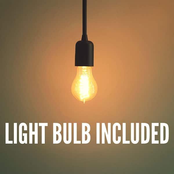 Matte Black Q-Max A0035 8.7 Industrial Metal Mini Pendant Ceiling Light I-Bulb Lighting Fixture Finish