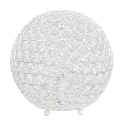 10 in. White Crystal Ball Sequin Table Lamp