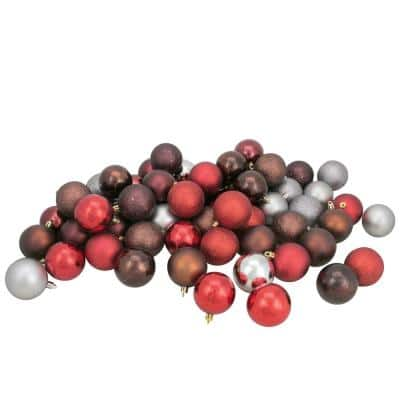 2.5 in. Red/Burgundy/Pewter/Mocha Shatterproof 4-Finish Christmas Ball Ornaments (60-Count)