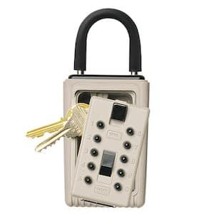 Portable 3-Key Lock Box with Pushbutton Combination Lock