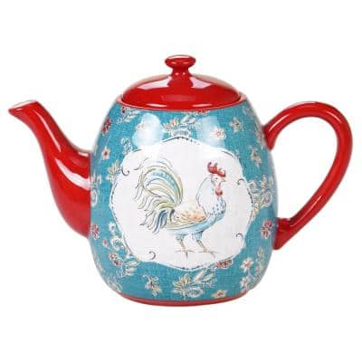 Morning Bloom 40 oz. 4-Cup Multicolored Teapot