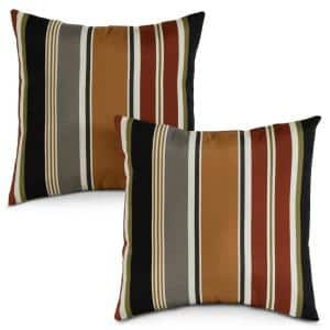 Brick Stripe Square Outdoor Throw Pillow (2-Pack)