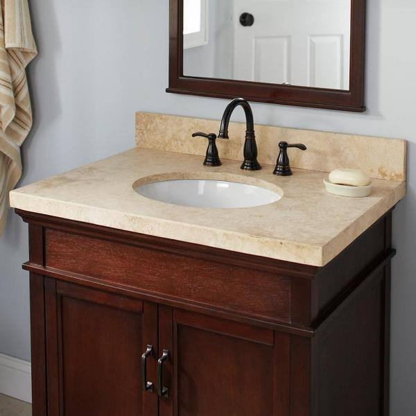 Pegasus 37 In Travertine Vanity Top In Ivory Select With White Basin 37996 The Home Depot