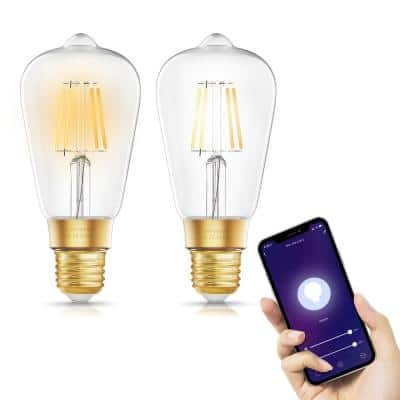 60-Watt Equivalent ST64 Dimmable Edison Smart LED Light Bulb in Tunable White (2-Pack)