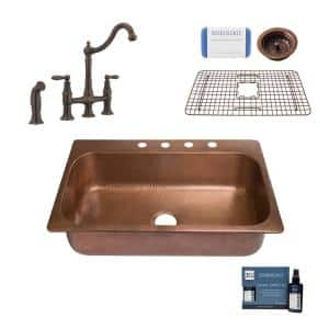 Angelico All-in-One Copper 33 in. 4-Hole Single Bowl Drop-In Kitchen Sink with Pfister Faucet and Drain