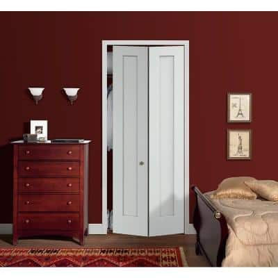 36 in. x 96 in. Madison White Painted Smooth Molded Composite MDF Closet Bi-Fold Door