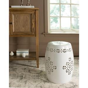Quatrefoil Antique White Ceramic Garden Stool