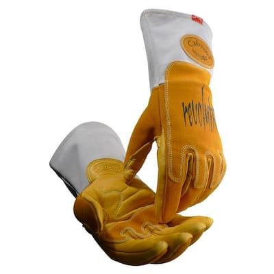 Large Gold Ergonomic Pig Grain Mig/Stick Welding Gloves