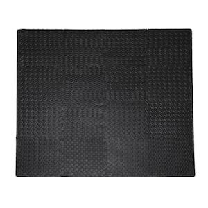 Soft EVA Foam Mat Flooring Tiles, Black, 16 PC, 12'' x 12'', 16 sq. ft.